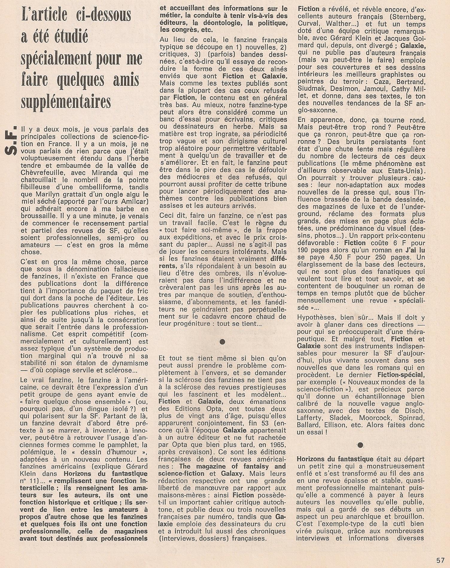 Rubrique Jean-Pierre Andrevon - Charlie n°68 - Septembre 1974
